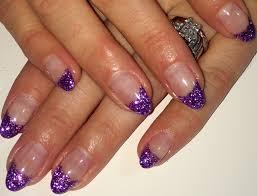 purple french mani glitter nail art almond nails summer 2014 gel