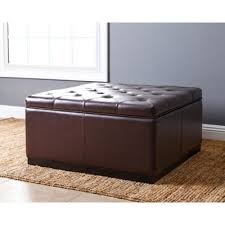 buy brown leather storage ottoman from bed bath u0026 beyond