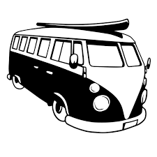 black volkswagen bus vw bus die cut decal car window wall bumper phone laptop
