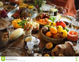 Thanksgiving Table Settings by Roasted Beef Food Thanksgiving Table Setting Concept Stock Photo