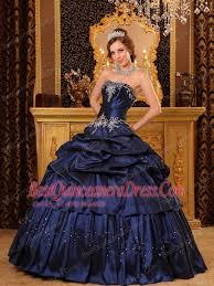 quincea eras dresses blue gown strapless floor length appliques taffeta