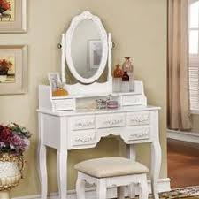 vanity set bench mirror stool makeup table