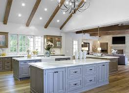 vaulted kitchen ceiling ideas kitchen with two gray islands transitional kitchen