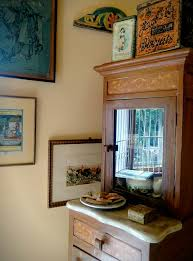 inlay antique corner cabinet and old biscuit tins and antique