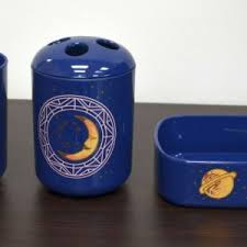 navy blue bathroom accessories with planet theme tumbler