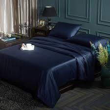 Navy Blue Bedding Set 60s Tencel Solid Color Navy Blue Bedding Set Button Duvet Cover