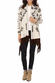 Double D Ranch Clothing Beige Printed Cardigan With An Open Front In Silver And Taupe