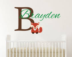 Baby Monogram Wall Decor Fox Name Decal Etsy