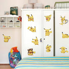 Cartoon Pikachu Dog Wall Stickers Kids Room Nursery Wall Decor - Stickers for kids room