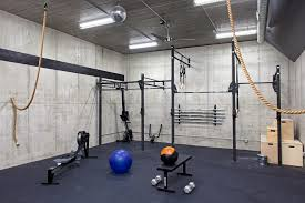 basement gym home gym industrial with ceiling fan remote control3