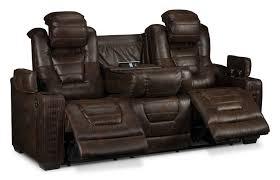 Leather Electric Reclining Sofa Dakota Power Reclining Sofa Walnut S
