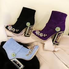 s boots designer designer brand s retro ankle boots colorful rhinestone