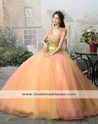 peach color ruching lace colourful performance dress wedding gown