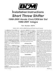 b u0026m 45074 precision sport shifter 88 00 honda user manual 2