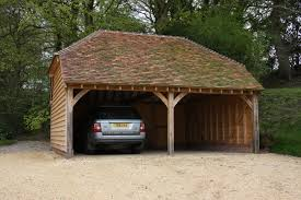 green oak framed 2 bay garage car port bespoak framing