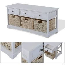 wooden coffee table with seagrass wicker storage baskets u2013 ideal