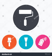paint roller brush icons spray can stock vector 354443885