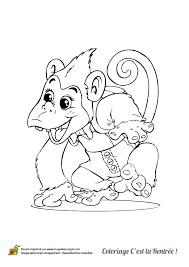 dessin à colorier de petit singe allant à l u0027école