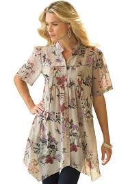plus size blouses and tops floral blouse by denim 24 7 plus size tops and tees roamans