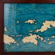 Bvi Map British Virgin Islands Wood Map 3d Nautical Topographic Chart