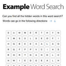 create a word search in seconds with our free word search maker