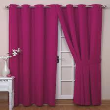 Bright Colored Curtains Bright Colored Curtains With Metal Hang And Door Beside Wood Table