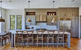 urban farmhouse kitchen featuring reclaimed wood island grey