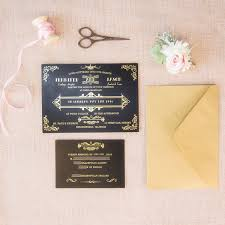 gatsby invitations foil gold and black great gatsby wedding invitations ewfi023 as