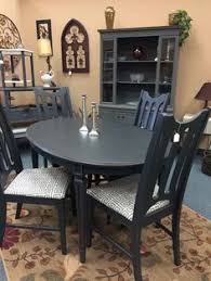 pedestal table and chairs painted with valspar paint mixed with