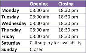 opening times the chorley surgery