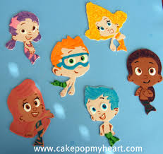 bubble guppies cake toppers cake pop heart