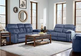 Blue Reclining Sofa by Corrinne Contemporary Reclining Living Room Collection