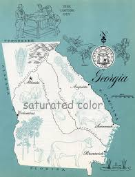 Augusta Ga Map Georgia Map Vintage Aqua Colorful Illustrated Map Of Georgia