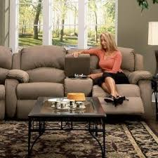 Console Sofa Reclining Loveseat With Console Cup Holders Foter