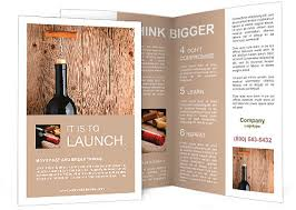 wine brochure template bottle of wine with corkscrew on wooden background brochure