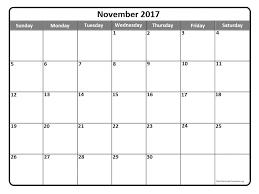 november 2017 calendar printable templates