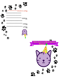 zensible free printable cat themed birthday invite card