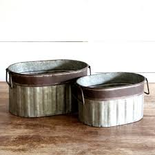 Corrugated Metal Planters by Corrugated Metal Planter Tub Storage Container Set Of 2 Antique