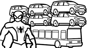 suv cars on bus u0026 spiderman coloring pages for kids coloring book