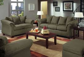 olive microfiber modern sofa with blue grey walls living room
