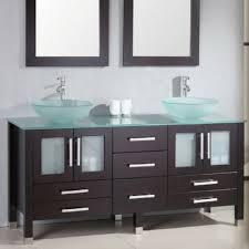 Espresso Vanity Bathroom Solid Oak Wood Vanity Glass Vessel Sinks Faucets U0026 Mirror