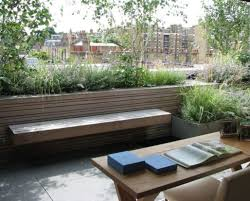 pergola terrace garden with concrete planters and arbor