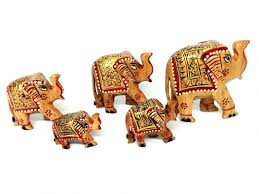 wooden elephant family home decor showpiece 5 pcs set desiclik