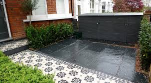 Garden Paving Ideas Uk Bespoke Front Garden Bike Store Paving Slate Patio Front Metal