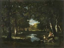 man and dog resting in forest glade art uk