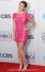lea michele sheath column short mini fuchsia sequined 2013 critics