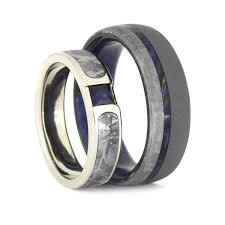 blue wedding rings blue wedding ring set meteorite rings with blue box elder burl