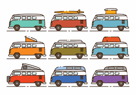 volkswagen van with surfboard clipart vw bus free vector art 667 free downloads