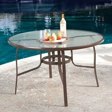 48 inch glass table top inch round glass top outdoor patio dining table with umbrella image