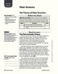 the theory of plate tectonics 4th 7th grade worksheet lesson